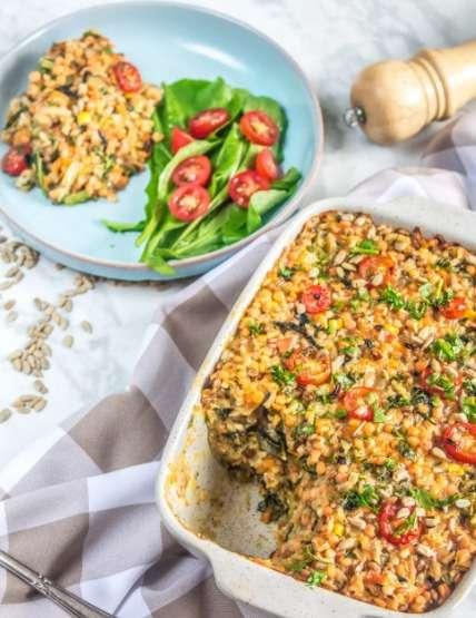 Arroz cremoso com lentilha e legumes